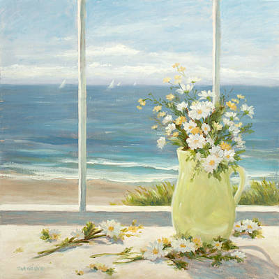 Sailboat Ocean Painting - Beach Daisies In Yellow Vase by Tina Obrien