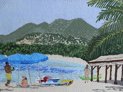 Beach Day At Le Galion Print by Margaret Brooks