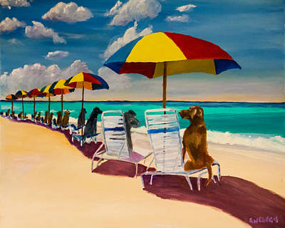 Chocolate Lab Painting - Beach Day by Roger Wedegis