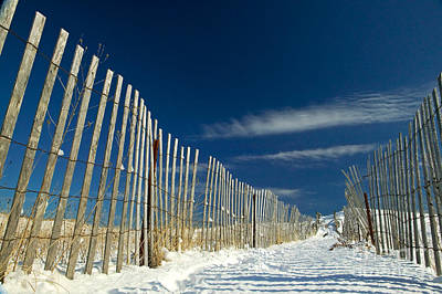Beach Fence And Snow Print by Matt Suess