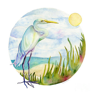 Beach Heron Print by Amy Kirkpatrick