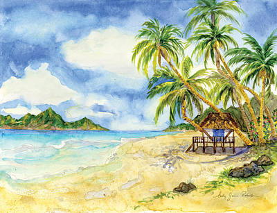 Beach House Cottage On A Caribbean Beach Print by Audrey Jeanne Roberts