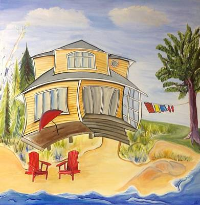 Beach House Print by Heather Lovat-Fraser
