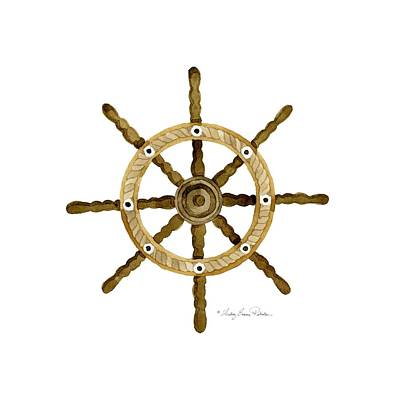 Boat On Beach Painting - Beach House Nautical Boat Ship Anchor Vintage by Audrey Jeanne Roberts