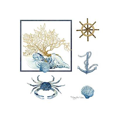 Beach House Nautical Seashells Ships Wheel Anchor N Crab Print by Audrey Jeanne Roberts