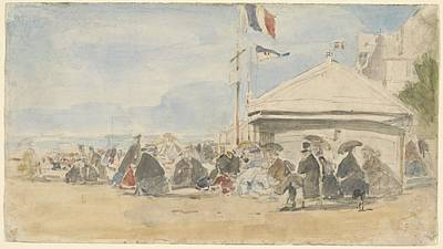 Beach House Drawing - Beach House With Flags At Trouville by Eugene Boudin