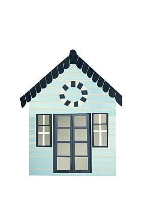 French Door Drawing - Beach Hut by Isobel Barber