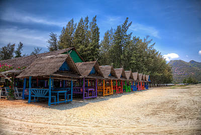 Beach Huts Print by Adrian Evans
