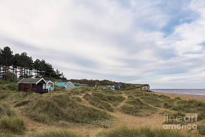 Broad Photograph - Beach Huts In The Marram Grass by John Edwards