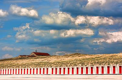 Beach Huts Print by Nadia Sanowar