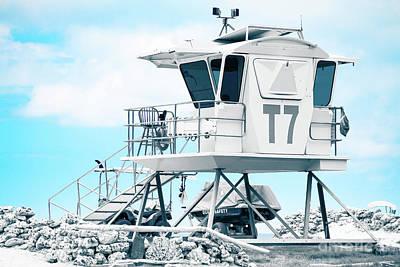 Beach Lifeguard Tower Print by Sharon Mau