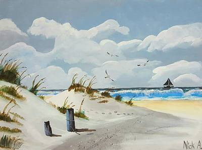 California Beach Art Painting - Beach  by Nicolas Avet