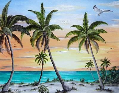 Beach Of Palms Print by Riley Geddings
