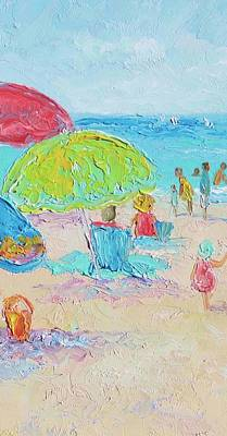 Beach Oil Painting - Beach Painting - A Relaxing Day by Jan Matson