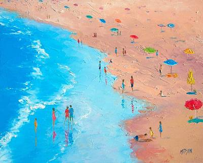 Beach Painting - A Sweltering Day Print by Jan Matson