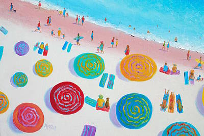 Beach Painting - A Walk In The Sun Print by Jan Matson
