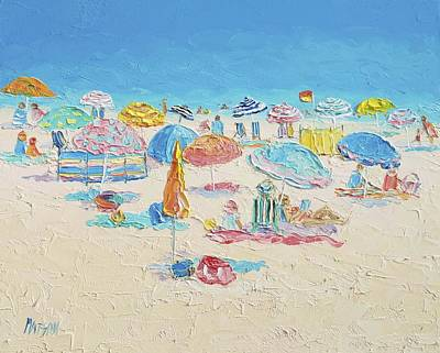 Beach Painting - Crowded Beach Print by Jan Matson