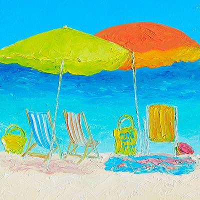 Beach Painting - Sunny Days Print by Jan Matson