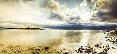 Policeman Photograph - Beach Panorama Of A Sunrise Over The Sea by Jorgo Photography - Wall Art Gallery