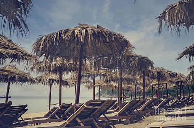 Water Filter Photograph - Beach Parasols by Jelena Jovanovic