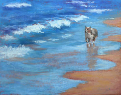 Beach Run Original by Helen Hammerman