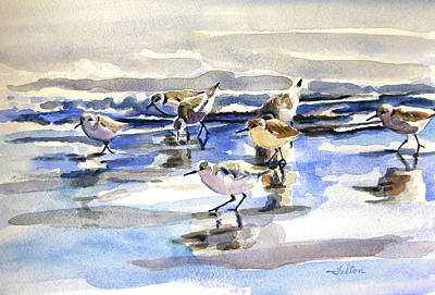 Painting - Beach Sandpipers 3-6-15  by Julianne Felton