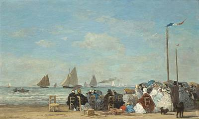 People Watching Painting - Beach Scene At Trouville by Eugene Boudin