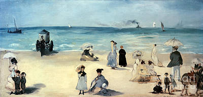 Parasol Painting - Beach Scene by Edouard Manet