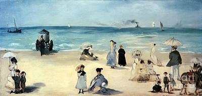 Umbrella Painting - Beach Scene by Edouard Manet