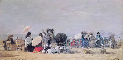 Umbrella Painting - Beach Scene by Eugene Louis Boudin