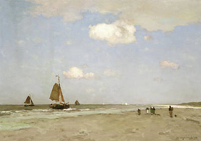 Boat On Beach Painting - Beach Scene by Johannes Hendrik Weissenbruch