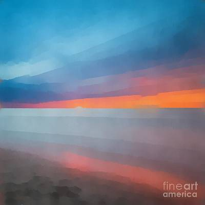 Beach Sunset Abstract 2 Print by Edward Fielding