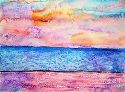 Watercolor Painting - Beach Sunset by Tyler Jones