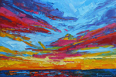 Beach Tropical Sunset Modern Impressionist Palette Knife Oil Painting Print by Patricia Awapara