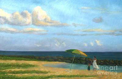 Waterscape Painting - Beach Umbrella by Jane  Simonson