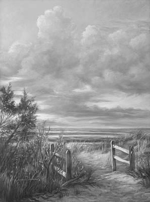 Cape Cod Beach Painting - Beach Walk - Black And White by Lucie Bilodeau