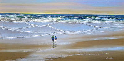 Incoming Tide Painting - Beach Walk by Frank Wilson