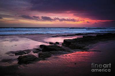 Beach Winter Sunset 1 Print by Carlos Caetano