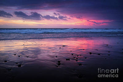 Beach Winter Sunset 2 Print by Carlos Caetano