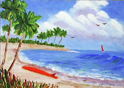 Kawai For Sale Painting - Beached Surfboard by Bob Phillips