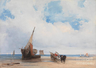 Horse And Cart Drawing - Beached Vessels And A Wagon by Celestial Images