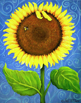 Bumblebee Drawing - Beachside Sunflower by Gail McClure