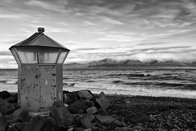 Horizontal Photograph - Beacon At Hvaleyrarviti In Iceland Bw by Andres Leon