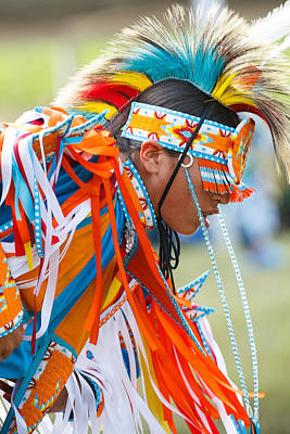 Silver Turquoise Photograph - Beaded Pow Wow Dancer by Steven Bateson