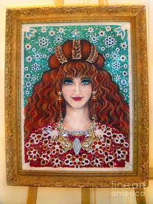 Bead Embroidery Painting - Sarah Goldberg Beauty Queen. Beadwork by Sofia Goldberg