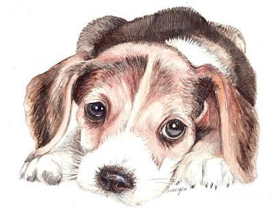Beagle Puppy Print by Morgan Fitzsimons