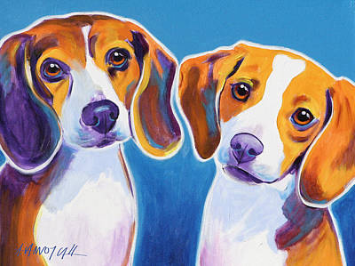 Beagle Puppies Painting - Beagles - Littermates by Alicia VanNoy Call