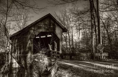 Of Indiana Photograph - Bean Blossom Bridge Sepia Tone by Mel Steinhauer