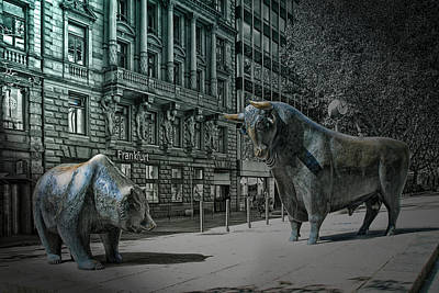 Finance Photograph - bear and bull Frankfurt by Joachim G Pinkawa