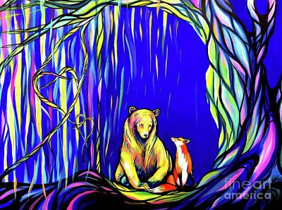 Great Smokey Mountains Painting - Bear And Fox  by Abbi Kay